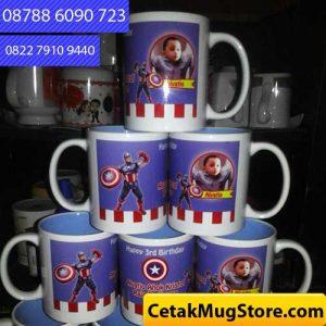 Mug Souvenir Ulang Tahun Tema Superhero Captain Amerika